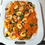 house-made tomato pasta with spinach shrimp garlic
