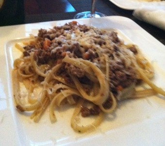 Bolognese meat sauce over linguine