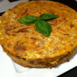 spaghetti pie with leftover bolognese