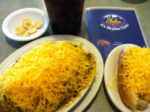 skyline chili 3-way cheese and cheese coney
