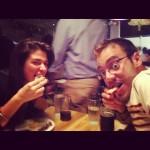 Tony & Jillian eating pork cracklins at Yardbird