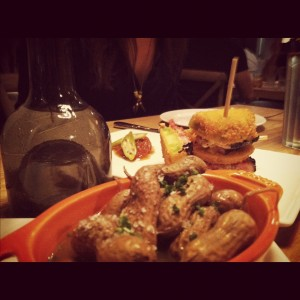 boiled peanuts and fried green tomato blt from yardbird